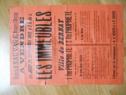 """affiche :   eure ,  BERNAY  :  le 25 septembre  1913  """" les  immeubles """"  ( timbre  vignette)  ( �tude de Me  Sauvage  )"""