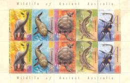 Australia 1997 Dinosaur Prehistoric Strip Of 5 X2 Sheet  #1616a - Mint Stamps