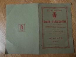 Livre : Socièté  Philharmonique , Ville De  SAINT  BRIEUC  1924; Les   Statuts - Livres, BD, Revues