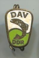 East Germany DDR - DAV, Fishing, Vintage Pin, Badge, Enamel - Otros