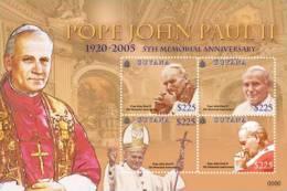 GUYANA  4050 1028 ; MINT NEVER HINGED MINI SHEET OF POPE JOHN PAUL II   # 177-1 - Guyana (1966-...)