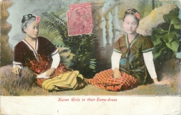 KAREN GIRLS  IN THEIR HOME DRESS - Myanmar (Burma)