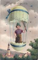 Illustrateur Enfant En Mongolfiere Illustrateur Joyeuses Pâques SUPERBE  Relief écrite TTBE - Pasen