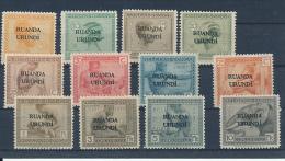 RUANDA URUNDI 1924 ISSUE COB 50/61 LH