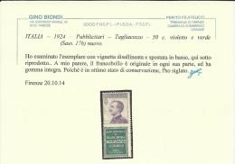 ITALIA REGNO ITALY KINGDOM 1924 1925 PUBBLICITARI CENT. 50 TAGLIACOZZO MNH DOPPIA VARIETA´  2 VARIETY CERTIFICATO - Pubblicitari