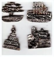 Liban Beyrouth  Arz  Ainjar   Harisa   Saida  4  Insignes  En Metal Argenté - Non Classés