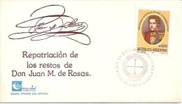 SOBRE ARGENTINA: REPARTRIACIÓN DE LOS RESTOS DE DON JUAN MANUEL DE ROSAS-ENCOTEL ARGENTINA AÑO 1991 TBE FDC GECKO - Unclassified