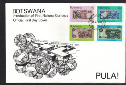 Botswana:  First Day Cover 1976 PULA! Introduction Of 1st National Currency - Botswana (1966-...)