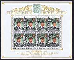 1987  Prince Alois  75è Ann Timbres Du Liechtenstein Feuillet De 8 Timbres Michel 921 ** - Blocs & Feuillets
