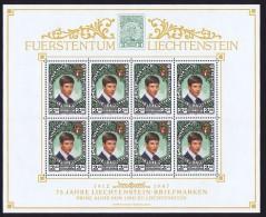 1987  Prince Alois  75è Ann Timbres Du Liechtenstein Feuillet De 8 Timbres Michel 921 **