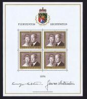 1974   Couple Princier  Feuillet De 4 Timbres Michel 614 ** - Blocs & Feuillets