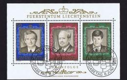 1988  50è Année De Règne  De Franz Joseph II  Michel  942-4   Bloc Feuillet Oblitéré Premier Jour