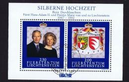1992  Noces D'argent Du Prince Hans-Adam Et De L Princesse Marie  Michel 1039-40   Bloc Feuillet Oblitéré Premier Jour
