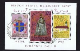 1985  Voyage Du Pape Jean-Paul II Au Liechtenstein  Michel 878-880   Bloc Feuillet Oblitéré Premier Jour
