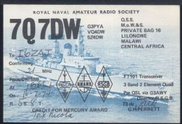 WC435 QSL 7Q7DW ROYAL NAVAL AMATEUR RADIO , LILONGWE MALAWI CENTRAL AFRICA - Radio Amatoriale