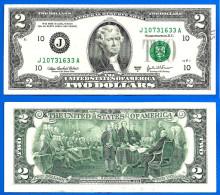 USA 2 Dollars 2003 A Jefferson Mint Kansas City Prefixe J Suffixe A United States America Dollar US Skrill Paypal Btc