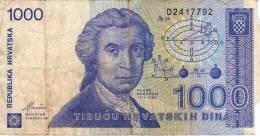 Croatie Croatia : 1000 Dinara 1991 : Mauvais Etat - Croatie