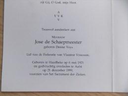Doodsprentje Denise Veys Harelbeke 6/5/1921 Aalst 21/12/1999 ( Jose De Schaepmeester ) - Religion &  Esoterik