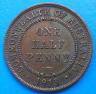 Australie Australia 1/2 Half Penny 1913 Km 22 - Monnaie Pré-décimale (1910-1965)