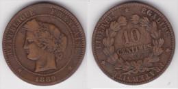 10 CENTIMES CERES 1889 A En Bronze TB  (voir Scan) - Francia