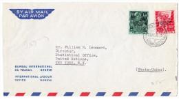 BIT Flugpostbrief 16.VIII.56 Genève 22 Nach NEW-YORK USA Mit BIT (D IV) Zu.#76 + 77 - Service