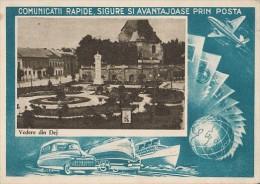 CPA DEJ- CENTRAL SQUARE, CHURCH, CAR, TRAIN, SHIP, PLANE - Romania