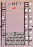 ATM MILANO AUTOFILOTRANVIARIE URBANE ABBONAMENTO PER 15 CORSE - Tramways