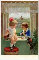 Cpa Fantaisie, Enfants à La Fenêtre, Chien, Jouets - Fantaisies