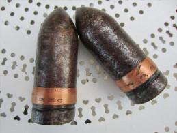 Deux Ogives de 37mm 3,7Cm Allemands Inertes Seconde Guerre WW2 39-45