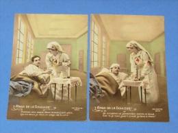 L'ange De La Douleur :: Série De 4 Cartes :::: Guerre - Infirmière - Hôpital - Croix Rouge - Poilus - Patriotique - Patriottiche