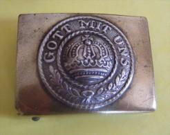 Boucle De Ceinture Laiton Ceinturon Prusse Ww1 GOTT MIT UNS - Uniformes