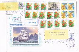 UCRAINA (UKRAINE) - STORIA POSTALE -  2002 RACCOMANDATA X ITALIA  AFFRANCATA CON 20 FRANCOBOLLI (1 SHIP)  - RIF.2100 - Ukraine