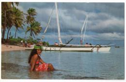 CPM    BORA BORA   1966      REPOS ET BAIN APRES LA PECHE AUX CAILLOUX      TAHITIENNE - Tahiti