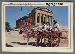 T7235 AGRIGENTO TEMPIO E CARRETTO SICILIANO COSTUMI VG (m) - Agrigento