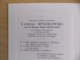 Doodsprentje Casimira Myszkowski - Divion ( Pas De Calais FR) 28/2/1928 Ieper 17/10/2004 ( Maurice Pittellioen ) - Religione & Esoterismo