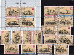 Posttransport 1978 Griechenland 1308/1,4x ZD,VB+Block 1 O 6€ 150 Jahre Post S/s Philatelics Blocs Sheets Bf Hellas - Hojas Bloque