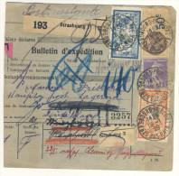 Frankreich Michel No. 100 , 139 , 216 auf Paketkarte