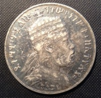 Ethiopia Manelik II 1889 - 1913, Birr 1889A, KM 5  VF (Ethiopie Monnaie D' Argent, Silver Coin) - Ethiopia