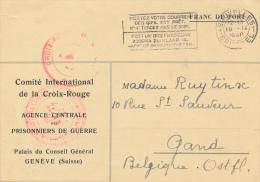 CROIX ROUGE * AGENCE CENTRALE DES PRISONNIERS DE GUERRE * 1940   2 AFBEELDINGEN