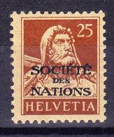 Schweiz - Ämter - Société Des Nations Zu.# SDN 19 * Tellbrust 25 Rp. Braun - Service