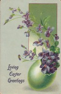 Loving Easter Greetings - Violets, Green Egg - Tuck - Pâques