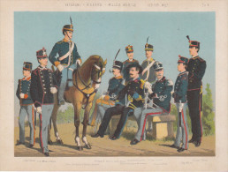 Uniformes Italiens Sous Humbert 1er - Vétérinaire, Réserviste, Milice Mobile - Lithographie Originale De Q. Cenni 1880 - Divise