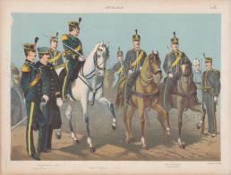 Uniformes Italiens Sous Humbert 1er - Artillerie - Lithographie Originale De Q. Cenni 1880 - Divise