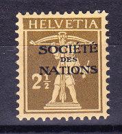 Schweiz - Ämter - Société Des Nations Zu.# SDN 27 * Tellknabe 2 1/2Rp. Braunlicholiv - Service