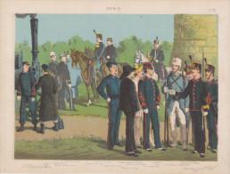Uniformes Italiens Sous Humbert 1er - Génie - Lithographie Originale De Q. Cenni 1880 - Divise
