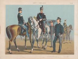 Uniformes Italiens Sous Humbert 1er - Médecins Et Ambulanciers - Lithographie Originale De Q. Cenni 1880 - Divise