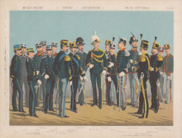 Uniformes Italiens Sous Humbert 1er - Employés, Comptable, Justice - Lithographie Originale De Q. Cenni 1880 - Divise