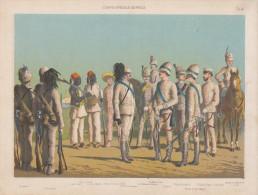Uniformes Italiens Sous Humbert 1er - Corp Spécial D'Afrique - Lithographie Originale De Q. Cenni 1880 - Divise