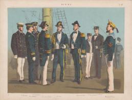 Uniformes Italiens Sous Humbert 1er - Marine - Lithographie Originale De Q. Cenni 1880 - Divise