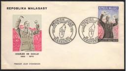 GENERAL DE GAULLE - MADAGASCAR / 1971 ENVELOPPE FDC (ref 5889) - De Gaulle (Général)